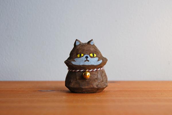 木彫り人形 ネコ ペルシャ こげ茶  [MWF-013]