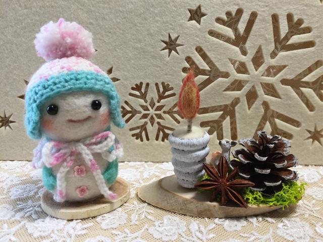 お洒落雪だるまとどんぐりキャンドル飾...