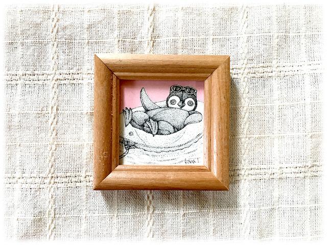 [ミニ原画]浮き輪ペンギン 点描画・...