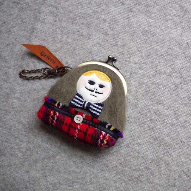 "HAMAONIGIRI ""Khaki knit × wool chec..."