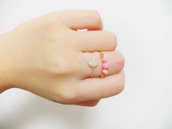 【kさま専用】珊瑚と石のリング【set】