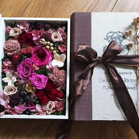 秋色ローズのファブリックボックス