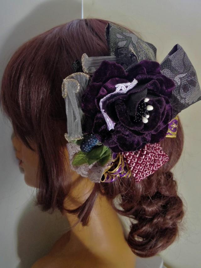 紫系ベロア風のお花ベース 大人の髪飾...