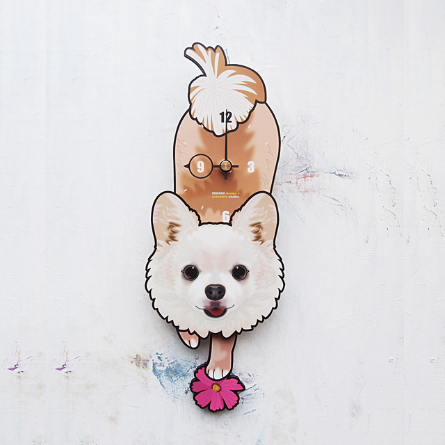 D-094 チワワ(白-長毛)-犬の振子時計