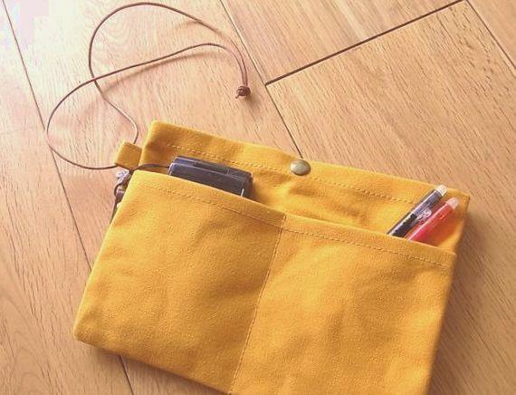 *再販*パラフィン帆布のバッグインバッグ からし