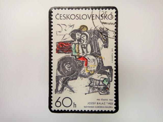 チェコスロバキア 切手ブローチ 2839