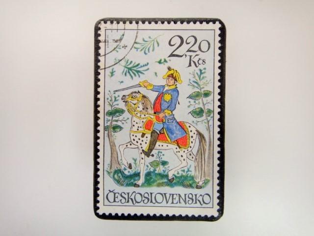 チェコスロバキア 切手ブローチ 2844