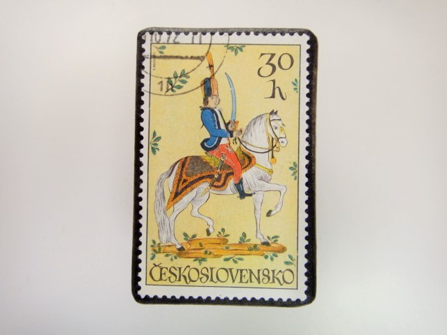 チェコスロバキア 切手ブローチ 2843