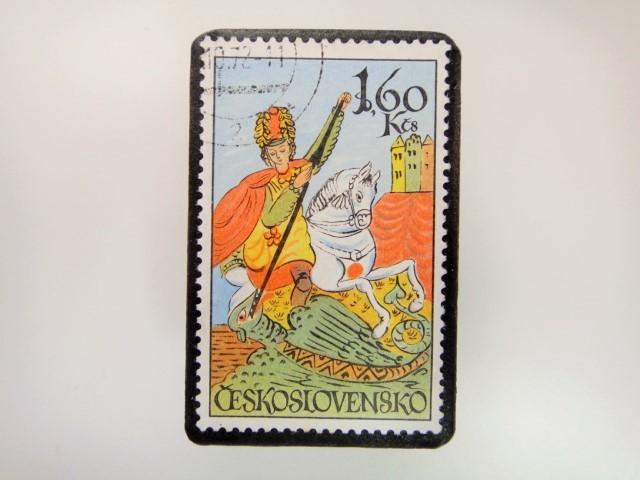 チェコスロバキア 切手ブローチ 2846
