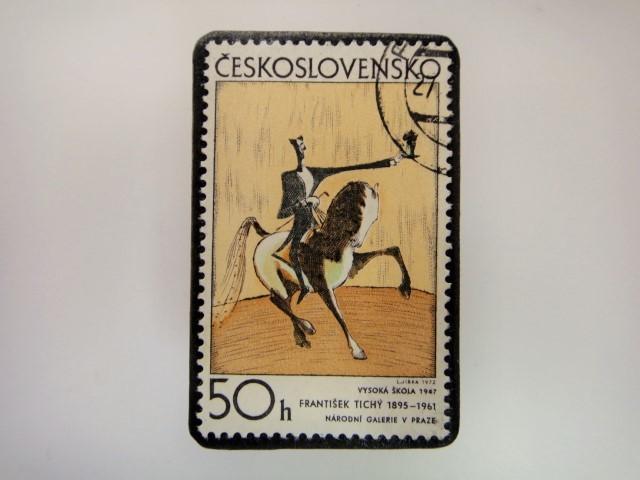 チェコスロバキア 切手ブローチ 2847