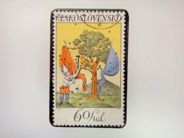 チェコスロバキア 切手ブローチ 2848