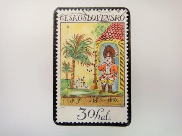 チェコスロバキア 切手ブローチ 2849