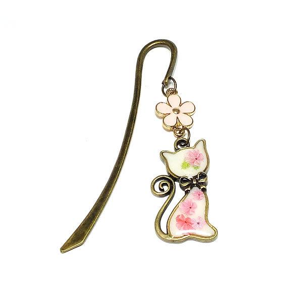*白猫とピンクのお花のブックマーカー...