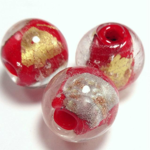 和っぽい 赤 とんぼ玉 ガラスビーズ 1セット 2粒販売 16mm前後  穴サイズ 3mm前後 m0034-1