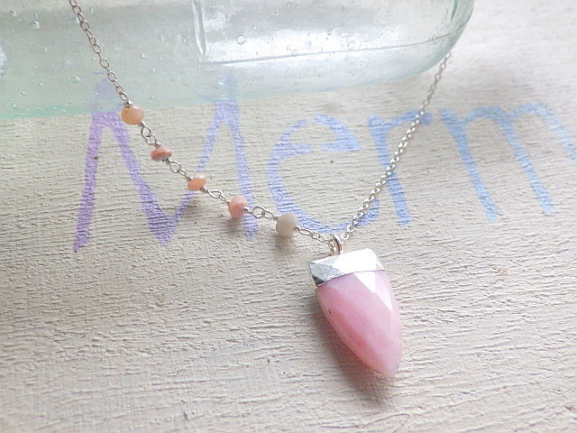 Horn Gem Necklace 10月誕生石 'Pink Op...