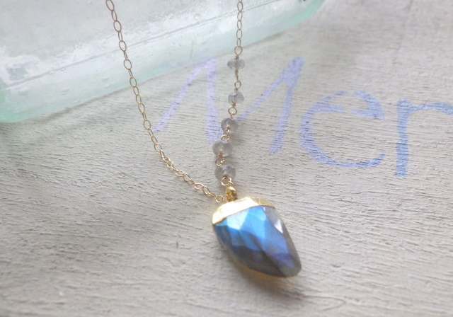 Horn Gem Necklace 'Labradrite' *14kgf*