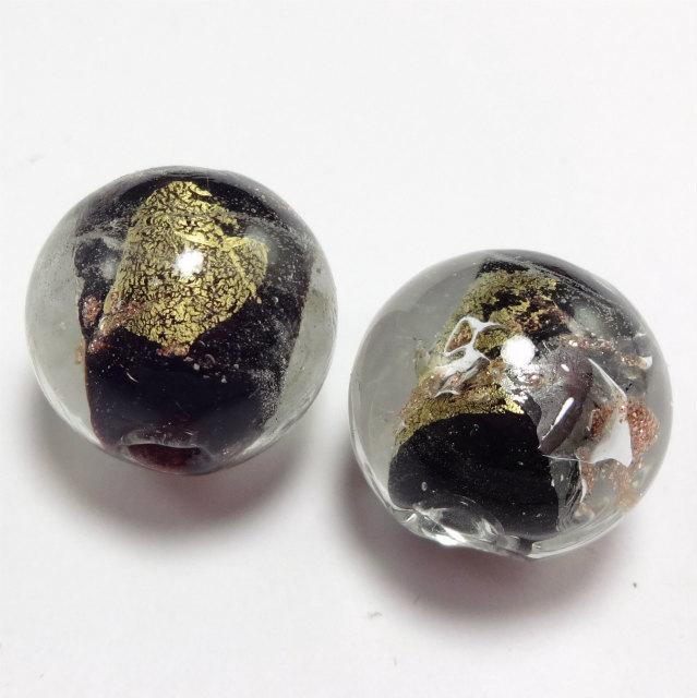 和っぽい 漆黒 とんぼ玉 ガラスビーズ  1セット2粒販売 16mm前後  穴サイズ 3mm前後 m0034-4