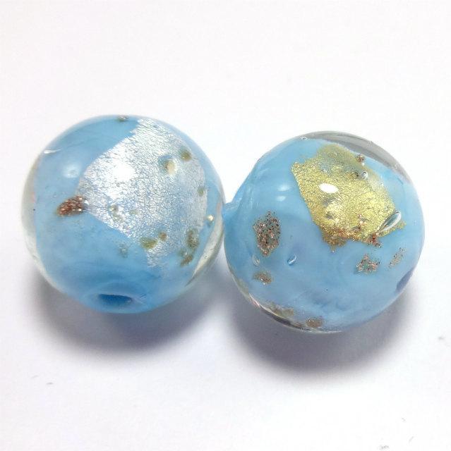 和っぽい 空色 とんぼ玉 ガラスビーズ  1セット2粒販売 16mm前後  穴サイズ 3mm前後 m0034-6