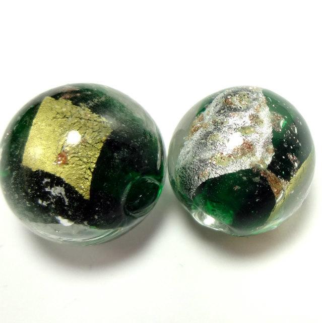 和っぽい 深緑 とんぼ玉 ガラスビーズ  ...
