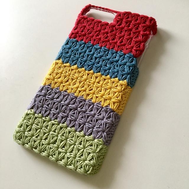 【オーダー品】5色のリフ編みスマホケース
