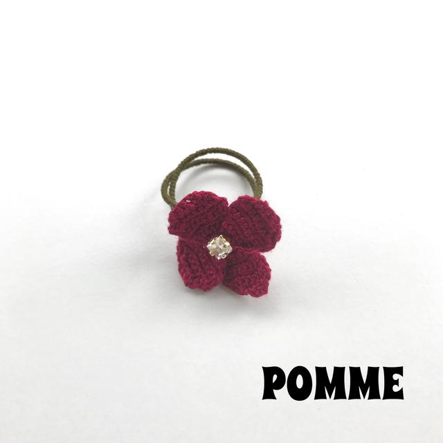 刺繍糸でできたお花のリング(ボルドー)