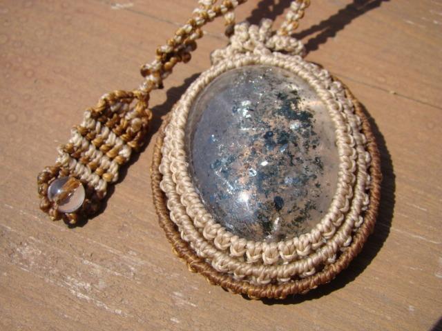 天然石 ガーデンクォーツのマクラメ編みネックレス