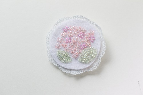 紫陽花ブローチ ピンク