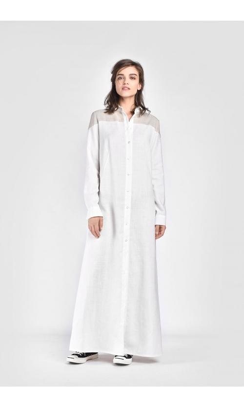 861ccc3ee0ea4e リネン マキシ シャツワンピース ドレス オフホワイト【Aakasha アーカシャ】【サイズのカスタムオーダーメイド可】