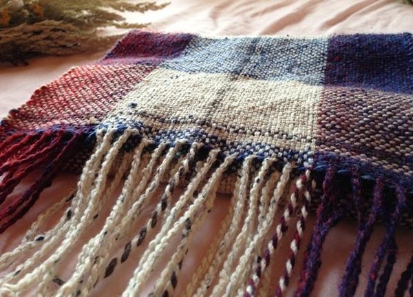 手織り リトアニアリウール 綺麗なグラデーション格子柄