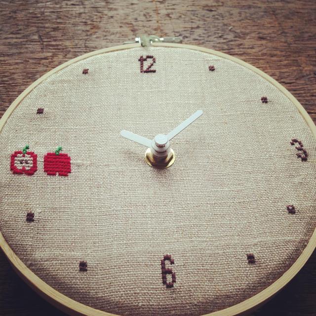 クロスステッチ時計:りんご