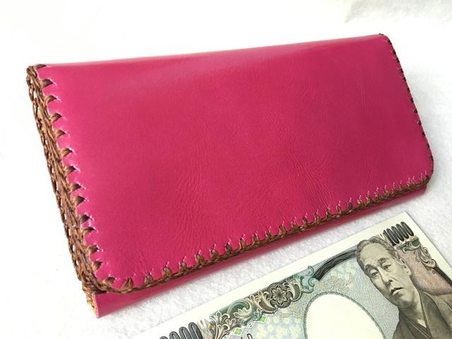 4ac186099e58 ハッピーピンクレザー ウォレット 送料無料 革職人の手作り財布屋 本革手縫いバッグ ポーチ 長財布