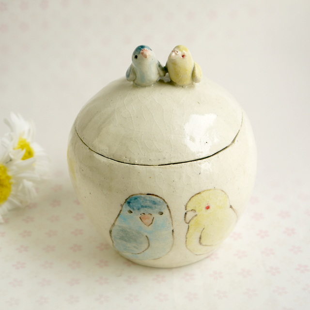 【m様ご注文分】陶器の小鳥 サザナミインコ(黄色&ブルー)