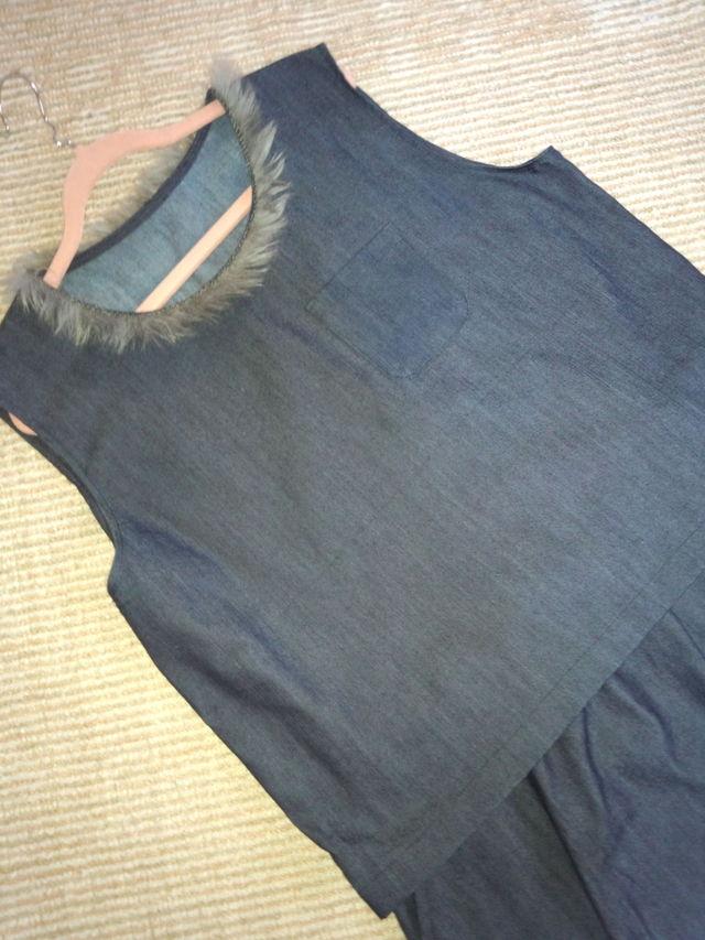 Lサイズ 薄手デニム生地のベストとスカートのセット