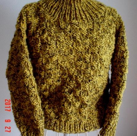 ☆彡☆辛子色の市松編み模様のプルオー...
