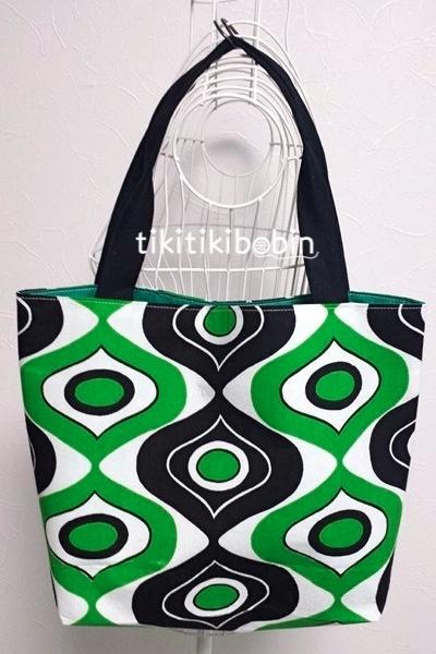緑と黒のレトロポップ柄のトートバッグ【送料無料】