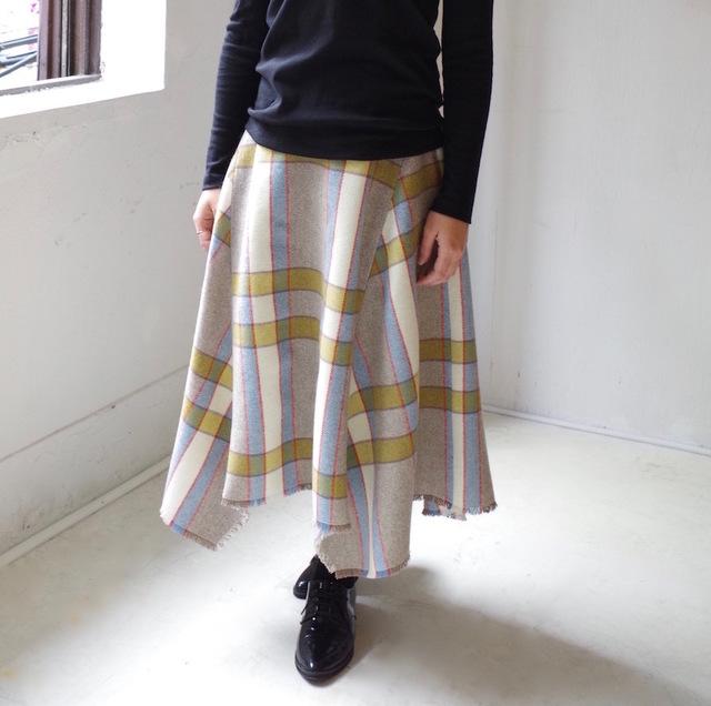 <サイズ追加!>英国ツィードチェックの切り替えロングスカート