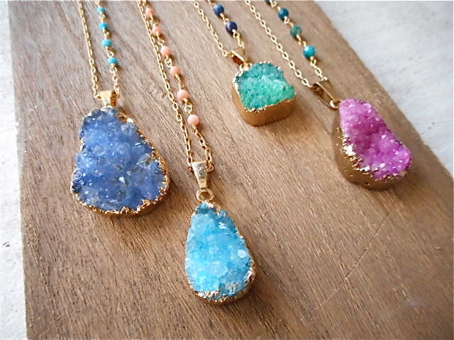 Druzy Ocean Necklace--Green