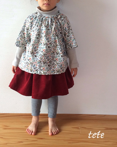 【size100】(裏地付、右脇ポケット付)タックギャザースカート