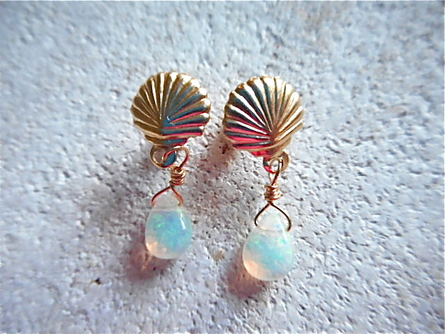 �����Mermaid Opal Earrings 14kgf