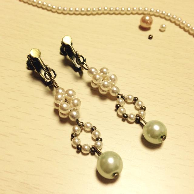 【アンティーク風】パールビーズイヤリング
