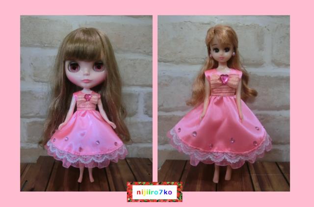 ブライス&リカちゃん ピンクなドレス。