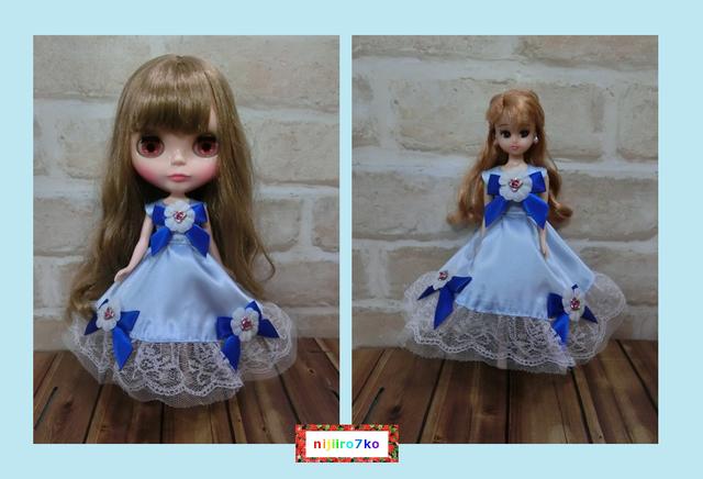 ブライス&リカちゃん ブルーなドレス。