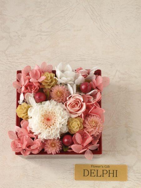 【受注製作】和風アレンジメント(花小箱)ピンク