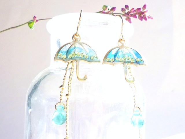 14KGF?傘ピアスUMBRELLA Earrings *Bijou Stone*