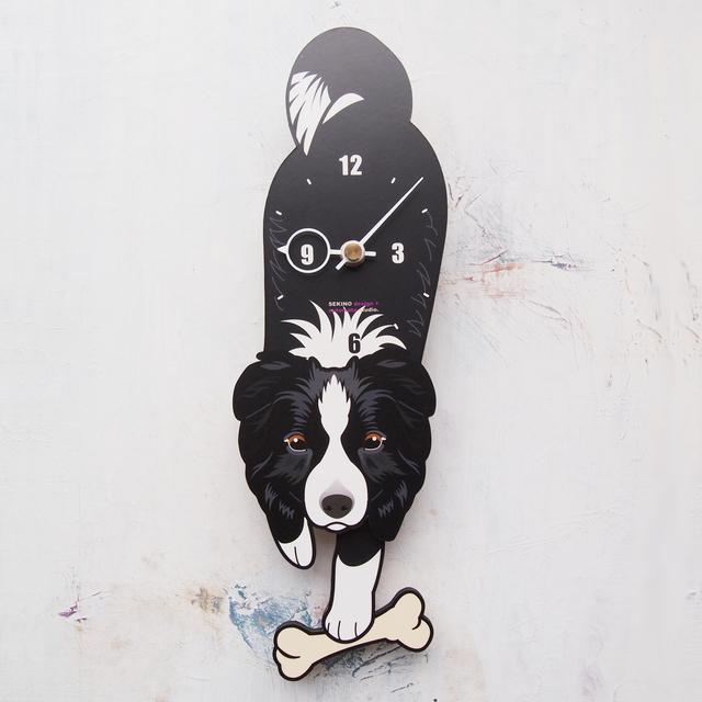 D-28 ボーダーコリー-犬の振り子時計