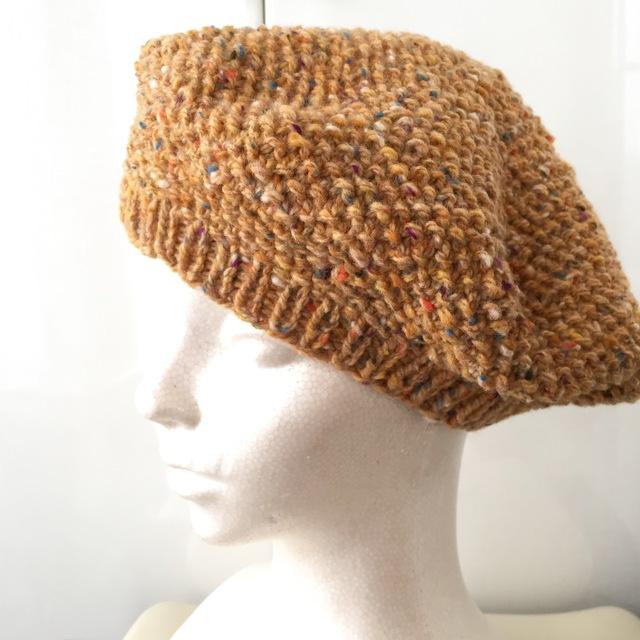 オレンジツイードのベレー帽