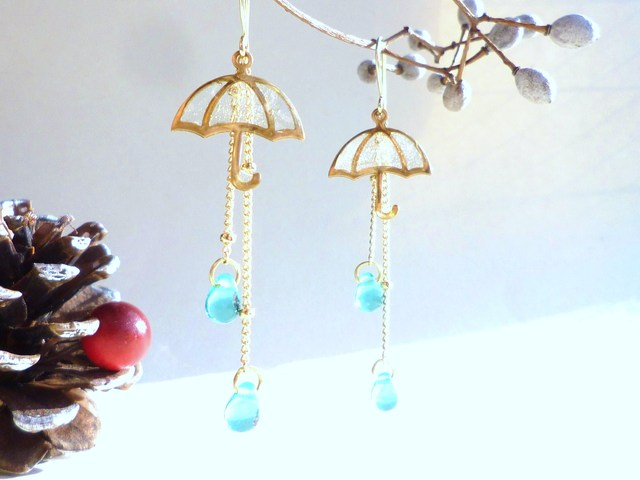 傘ピアス?UMBRELLA Earrings *Blue Drop*