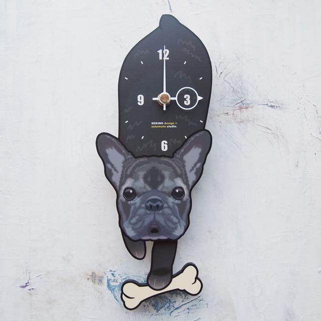 D-142 フレンチブル黒-犬の振子時計