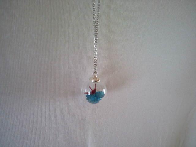 折り鶴とブルーアパタイトのガラスドー...