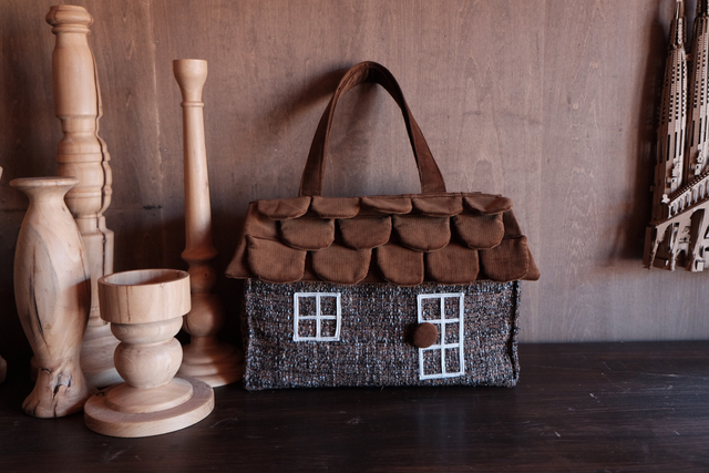 OUCHI box bag L  brownミックスツイード